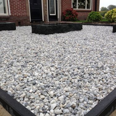 Easygravel®3XL splitplaat wit gevuld met Ice blue split