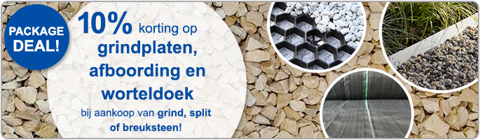 Package deal: 10% korting op grindplaten, afboording en worteldoek bij aankoop van grind, split of breuksteen